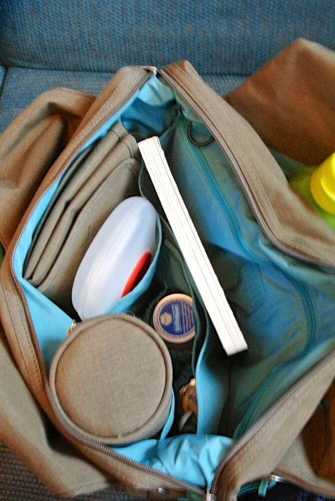 Wickeltasche Lässig Platzbedarf ganzer Tag ohne Stoffwindeln
