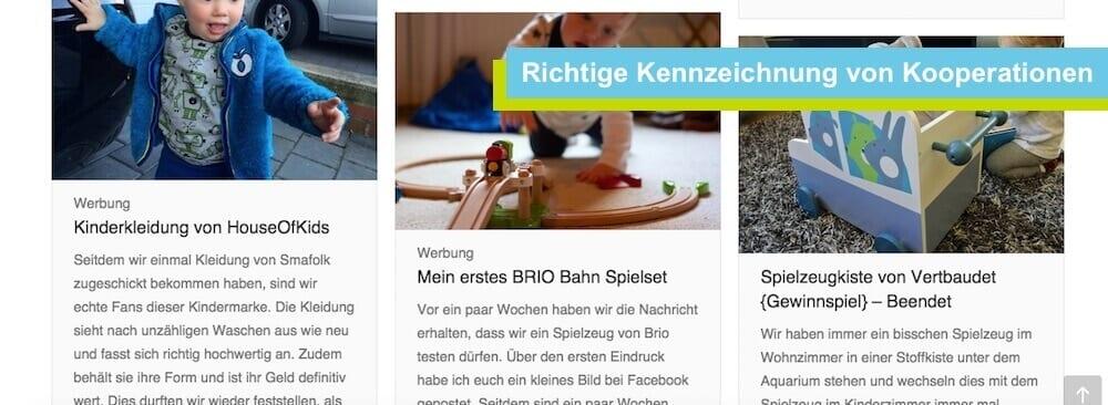 Kennzeichnung von Kooperationen im Blog | familiert.de